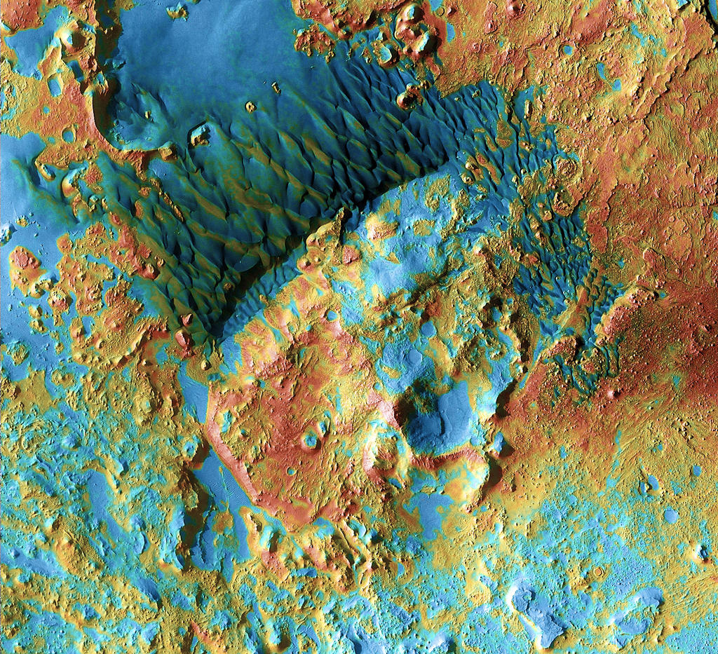 The battered region of Arabia Terra is among the oldest terrain on Mars.