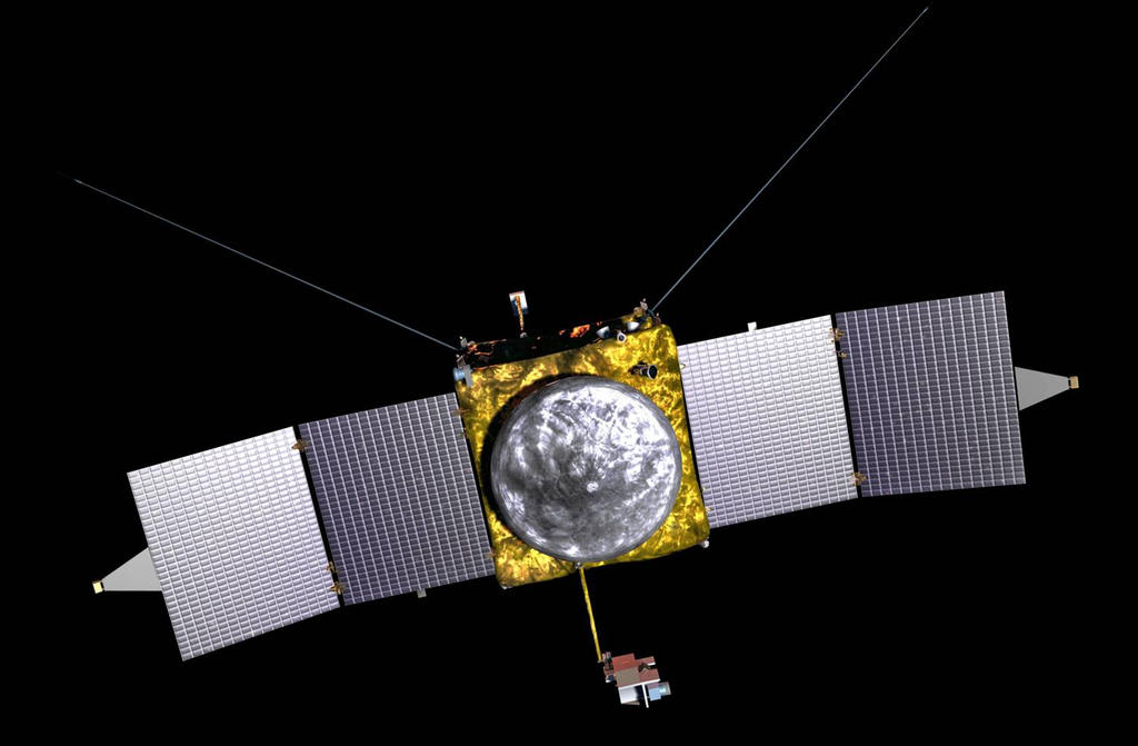 "This is an artist's concept of the MAVEN spacecraft, showing the wedge-shaped ""diving boards"" that hold the Magnetometers at both ends of the solar arrays."