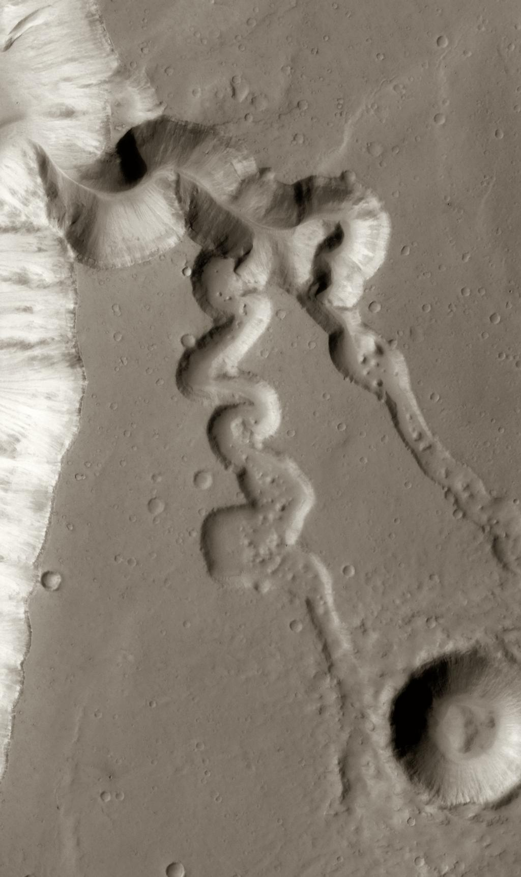 This image shows two small tributaries, just east of where they join Shalbatana Vallis.
