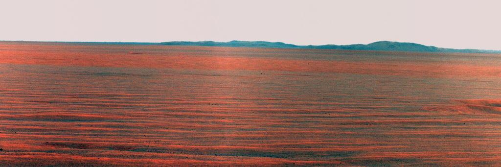 da NASA Mars Exploration Rover Opportunity usou sua câmera panorâmica para gravar essa visão para o leste horizonte no dia marciano 2407, ou sol, do trabalho do robô em Marte (31 de outubro de 2010).