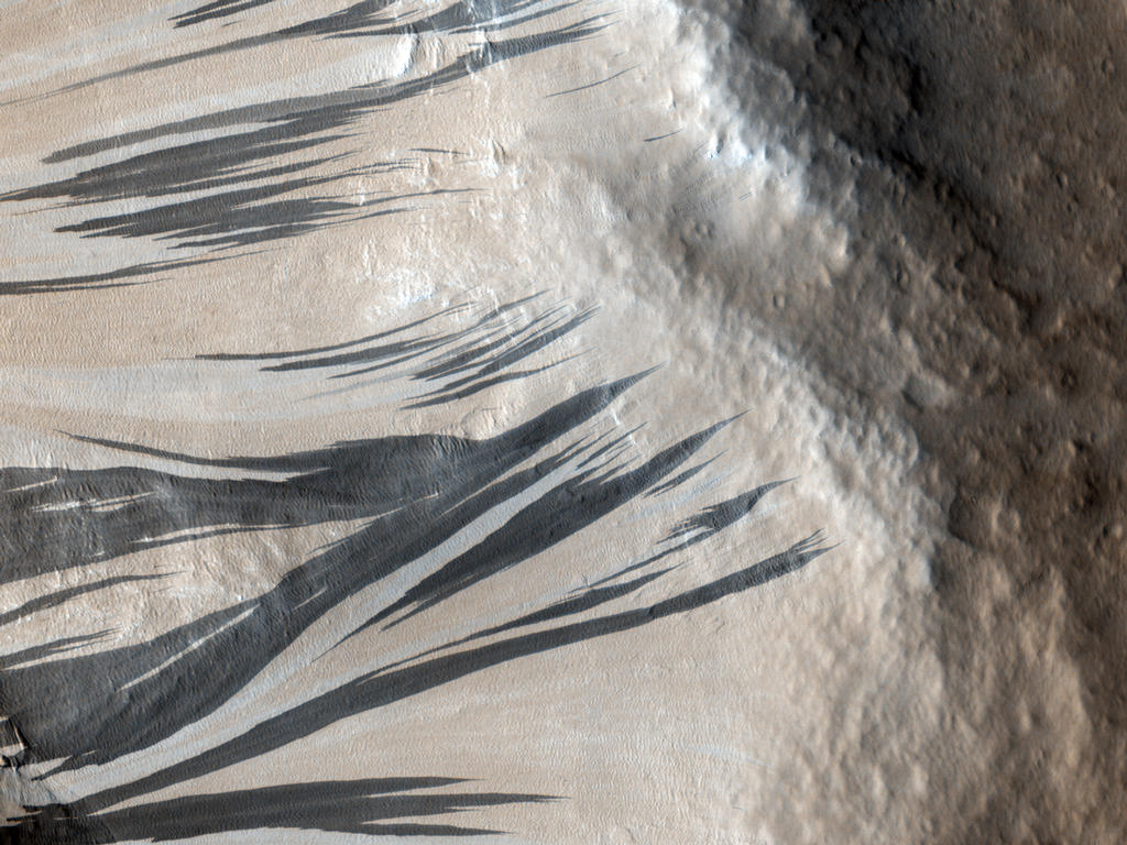 This observation shows a portion of the wall (light-toned material) and floor of a trough in the Acheron Fossae region of Mars. Many dark and light-toned slope streaks are visible on the wall of the trough surrounded by dunes.