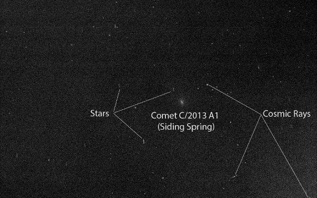 Mars Rover Opportunity's View of Passing Comet (Labeled)