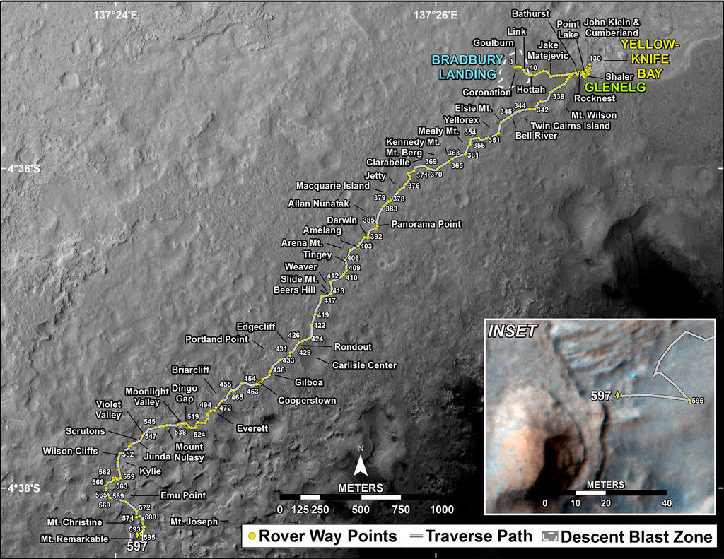 This map shows the route driven by NASA's Mars rover Curiosity through the 597 Martian day, or sol, of the rover's mission on Mars (April 11, 2014).
