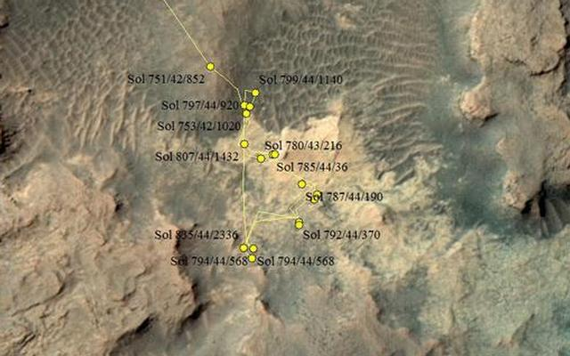 Curiosity Rover's Location for Sol 838