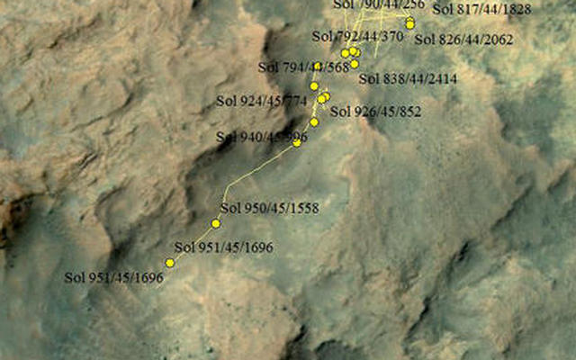 Curiosity Rover's Location for Sol 951