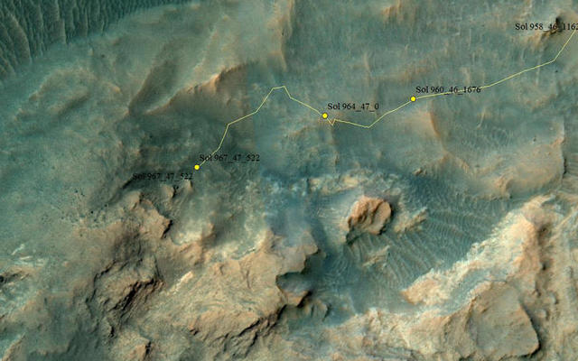 Curiosity Rover's Location for Sol 967