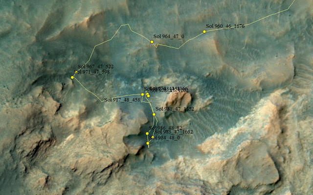 Curiosity Rover's Location for Sol 987