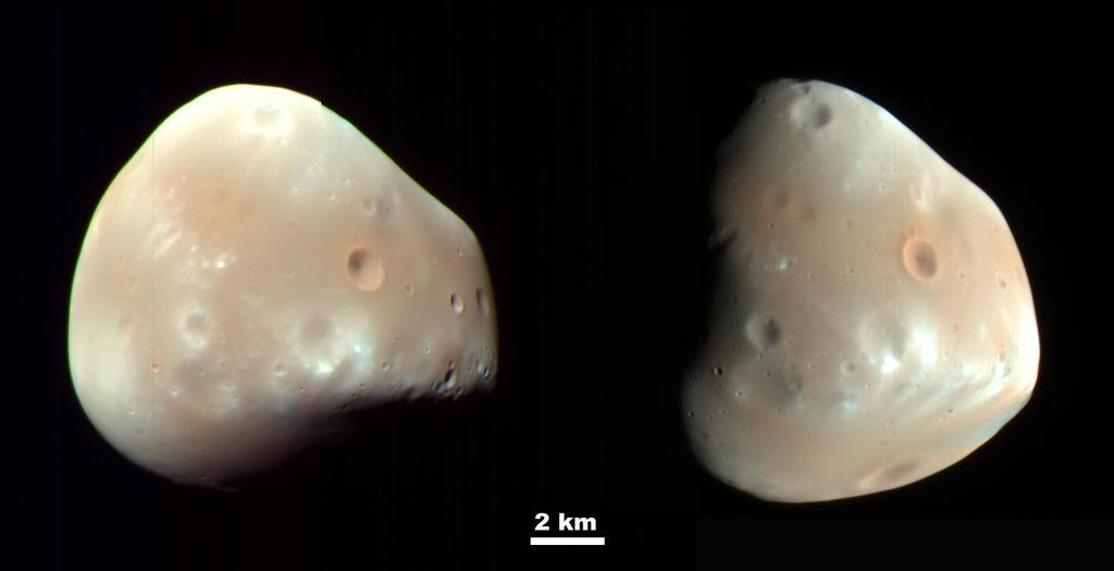 These color-enhanced views of Deimos, the smaller of the two moons of Mars, were taken by the High Resolution Imaging Science Experiment (HiRISE) camera on NASA's Mars Reconnaissance Orbiter.