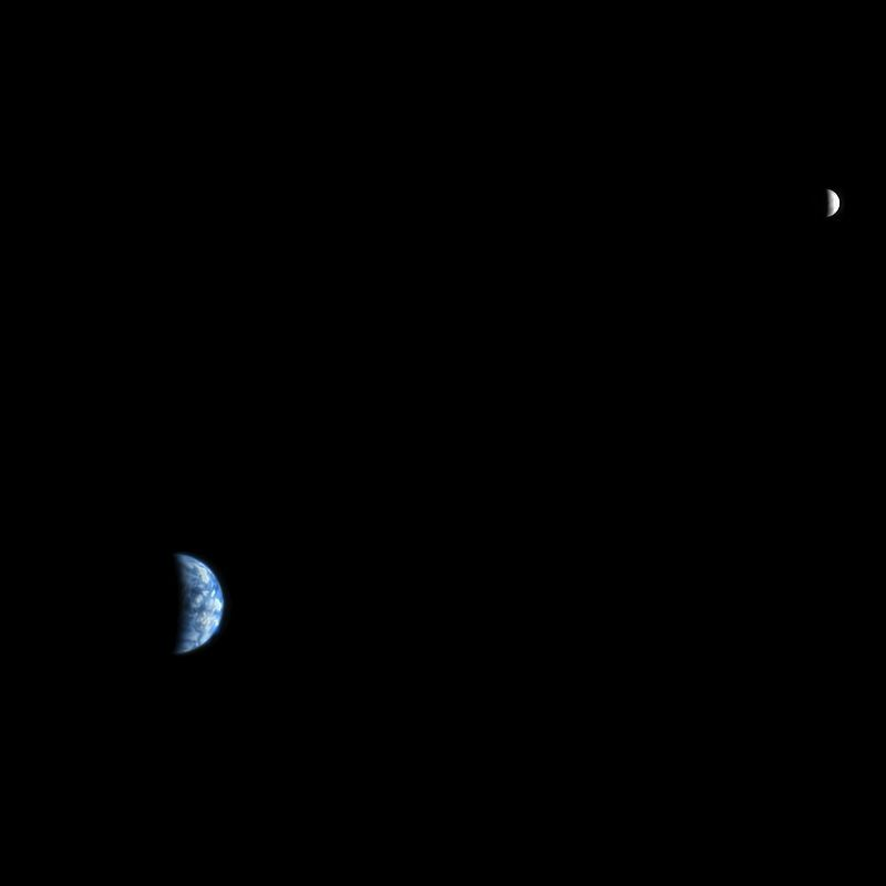 This image shows the Earth and Moon as seen from Mars.