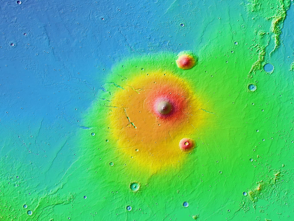 This is a colorized topographic map of the volcanic province Elysium, together with its surroundings, from the Mars Orbiter Laser Altimeter (MOLA) instrument of the Mars Global Surveyor spacecraft.