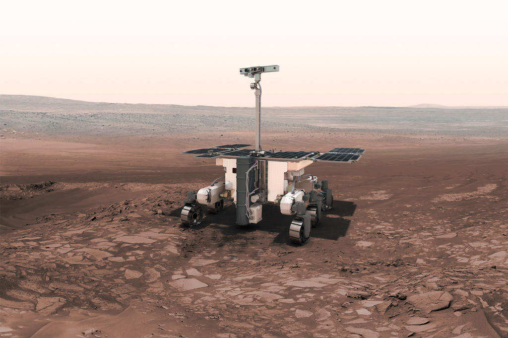 ESA's ExoMars Rover provides key mission capabilities: surface mobility, subsurface drilling and automatic sample collection, processing, and distribution to instruments.