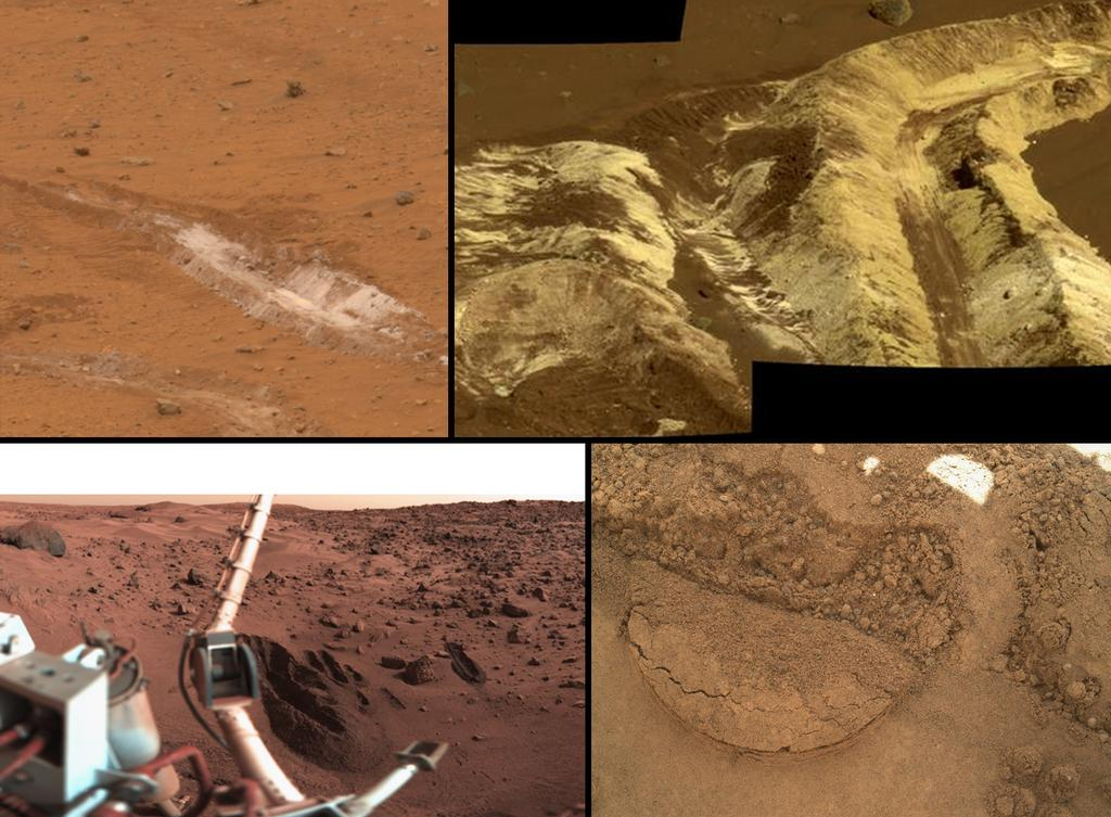 This collage shows the variety of soils found at landing sites on Mars.