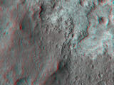 "This 3D, or stereo anaglyph, view shows the upcoming science destination for NASA's Mars rover Curiosity, a region dubbed ""Glenelg,"" where three different types of material seen from orbit come together (middle of picture)."