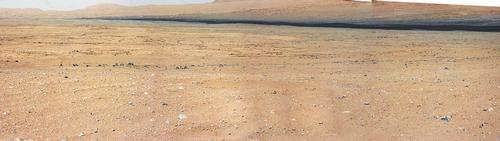 "This mosaic from the Mast Camera on NASA's Curiosity rover shows the view looking toward the ""Glenelg"" area, where three different terrain types come together."