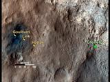 This map shows the path on Mars of NASA's Curiosity rover toward Glenelg, an area where three terrains of scientific interest converge.