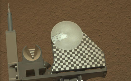 see the image 'First Sample Placed on Curiosity's Observation Tray'