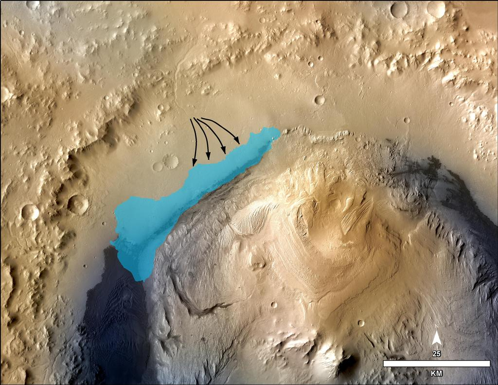 This illustration depicts a concept for the possible extent of an ancient lake inside Gale Crater.