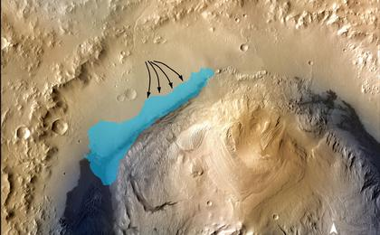 see the image 'Possible Extent of Ancient Lake in Gale Crater, Mars'