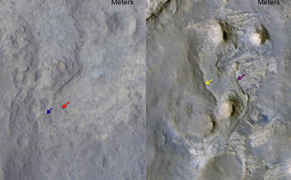 see the image 'Erosion Patterns May Guide Mars Rover to Rocks Recently Exposed'