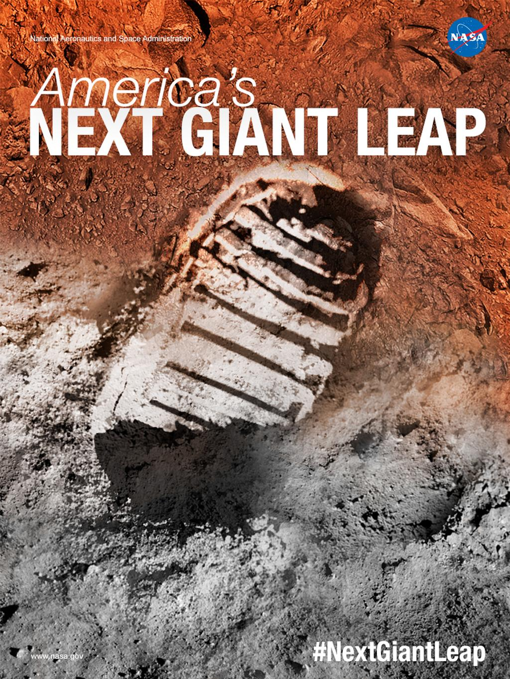 An artist's concept showing an astronaut boot print. Half the boot print is on orange soil, while the other on gray.