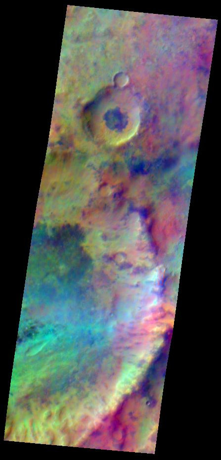 Pastel colors swirl across Mars, revealing differences in the composition and nature of the surface in this false-color infrared image.