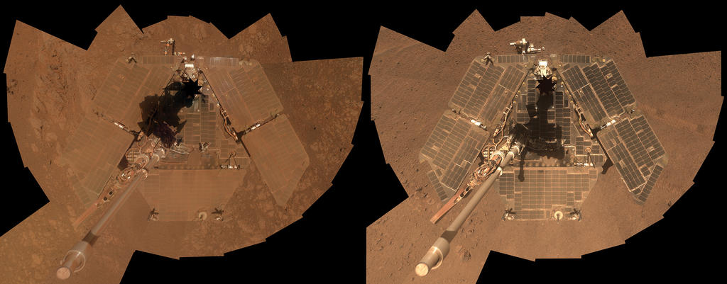 Cleaned Solar Arrays Gleam in Mars Rover's New Selfie
