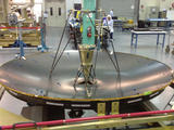 The MAVEN high-gain antenna measures 6.5 feet (79 inches) in diameter by 3.3 feet (40 inches) tall. The reflector is made of Kevlar honeycomb core sandwiched between two composite face sheets. It is currently undergoing performance, pattern, and acoustic testing at Lockheed Martin's facility in Newtown, Pa.