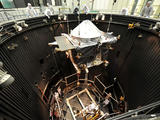 The MAVEN spacecraft is moved into the Thermal Vacuum Chamber (TVAC) at Lockheed Martin on May 16, 2013.
