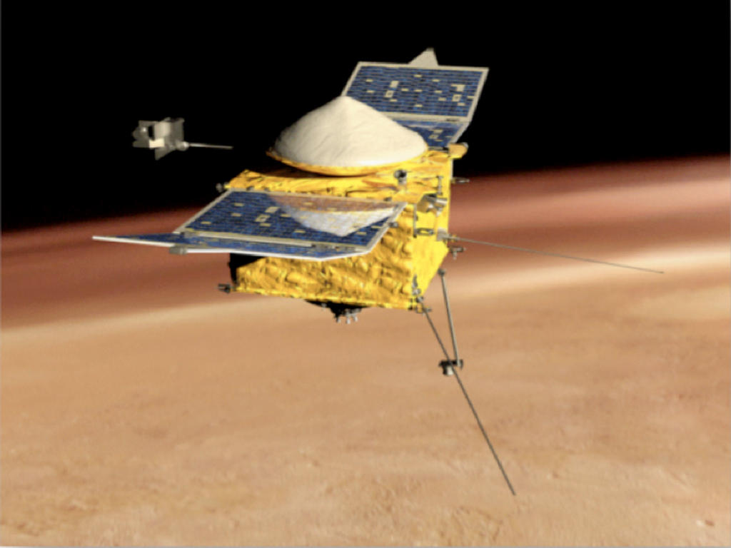 This is a side view of an artist's conception of NASA's Mars Atmosphere and Volatile Evolution MissioN (MAVEN) Mars orbiter.