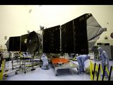 MAVEN solar arrays being tested by engineers.
