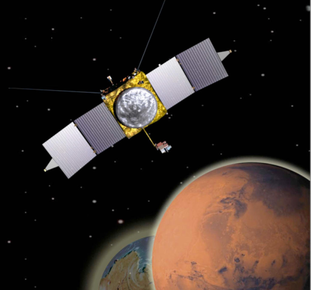 This is an artist's conception of NASA's Mars Atmosphere and Volatile Evolution MissioN (MAVEN) Mars orbiter.