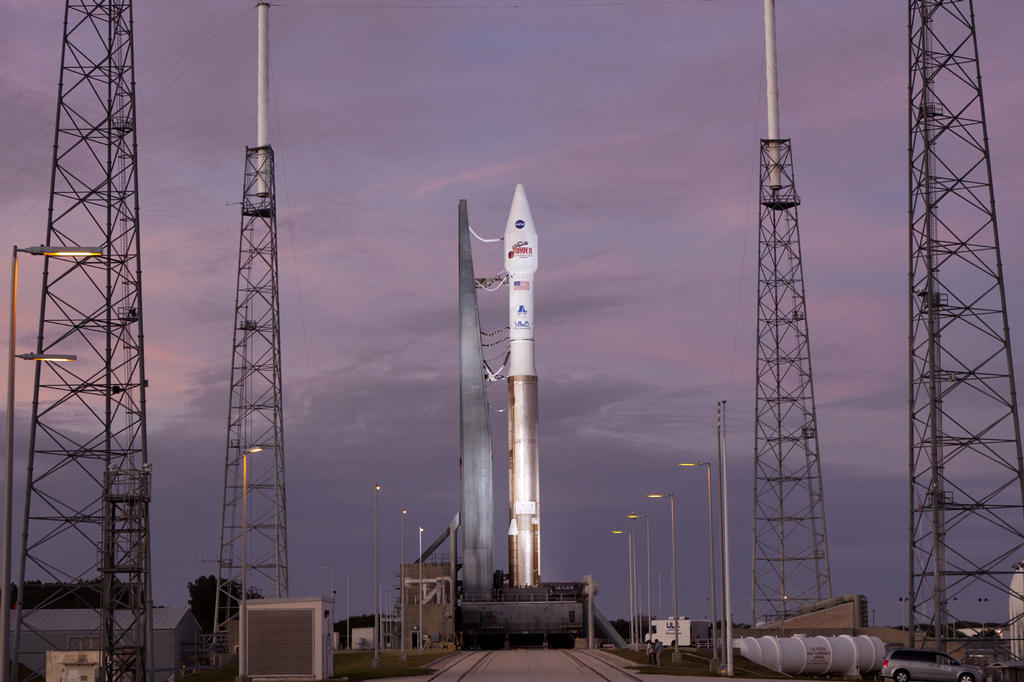 At Cape Canaveral Air Force Station's Space Launch Complex 41 a United Launch Alliance Atlas V rocket stands ready to boost the Mars Atmosphere and Volatile Evolution, or MAVEN, spacecraft on a 10-month journey to the Red Planet.