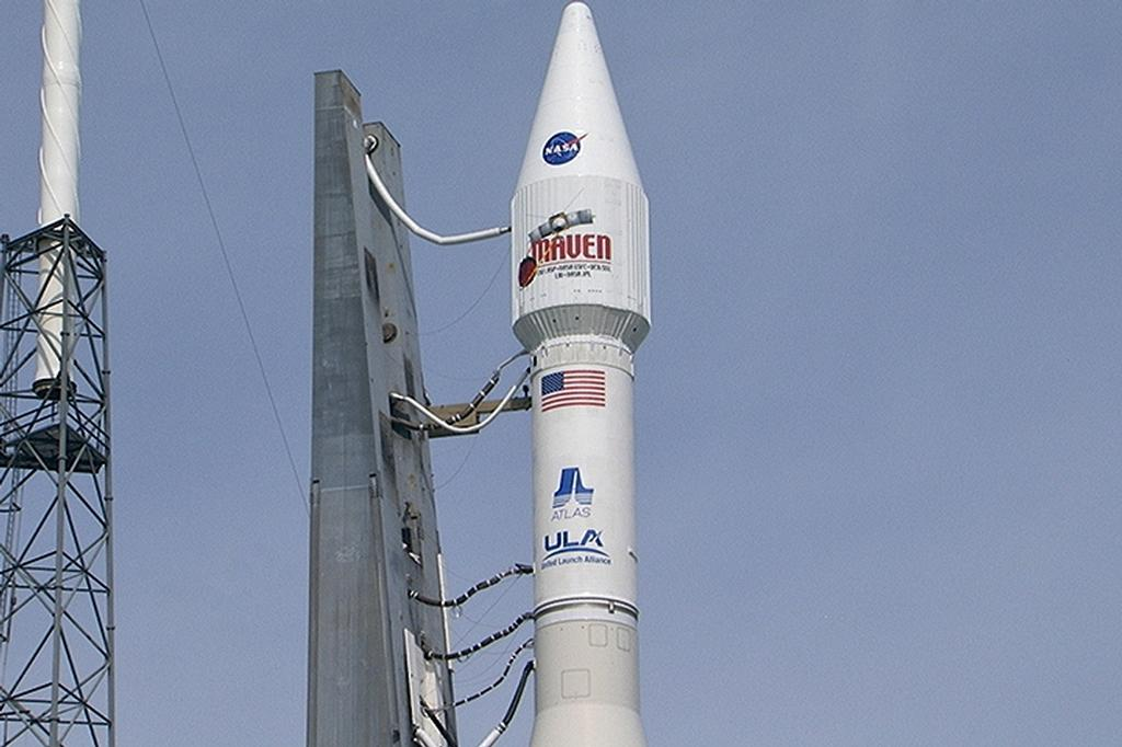 At Cape Canaveral Air Force Station's Space Launch Complex 41, the Mars Atmosphere and Volatile Evolution, or MAVEN, spacecraft is encapsulated atop an Atlas V rocket.