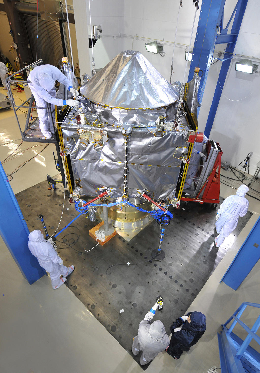 NASA's MAVEN spacecraft underwent acoustics testing on Feb. 13, 2013 at Lockheed Martin Space Systems' Reverberant Acoustic Laboratory.