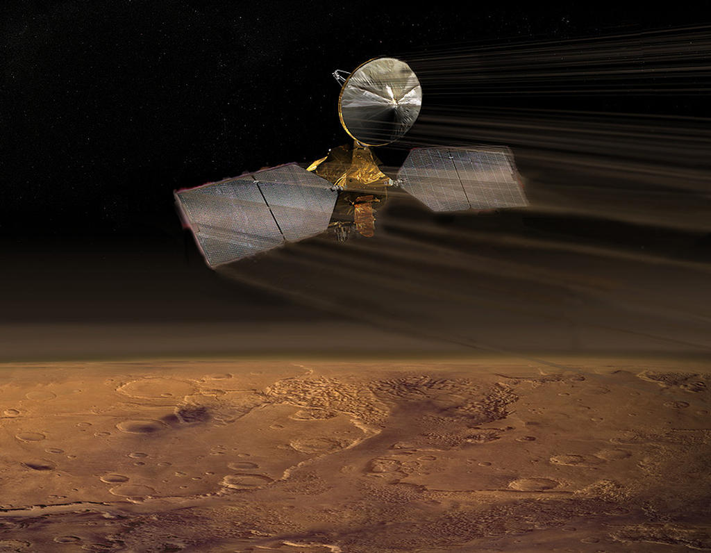 Artist concept of Mars Reconnaissance Orbiter during aerobraking.