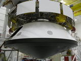 NASA's Mars Science Laboratory spacecraft has been fully stacked for flight in this photograph from inside the Spacecraft Assembly Facility at NASA's Jet Propulsion Laboratory, Pasadena, Calif.