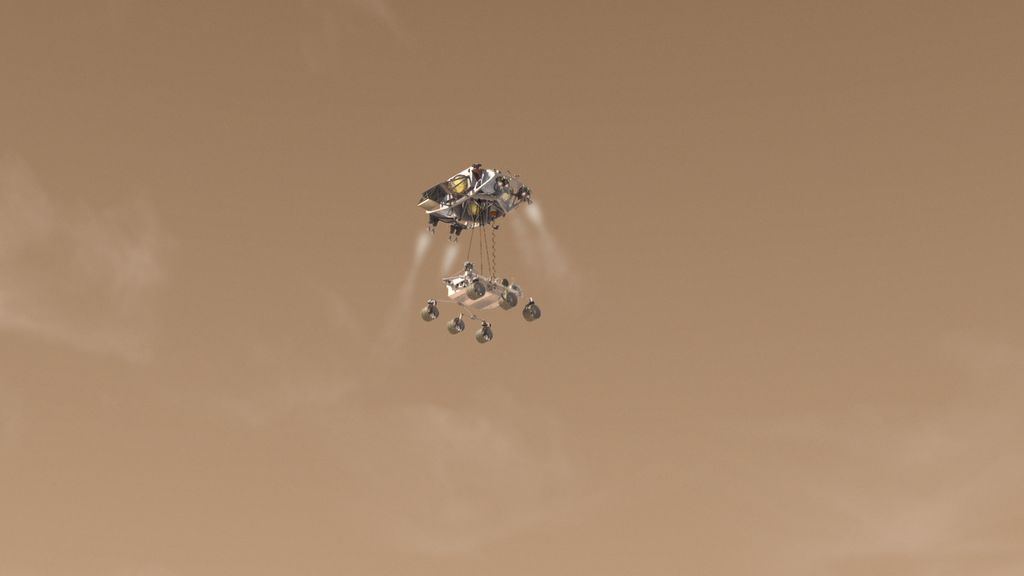 Artist's concept of Curiosity as it is being lowered for landing.