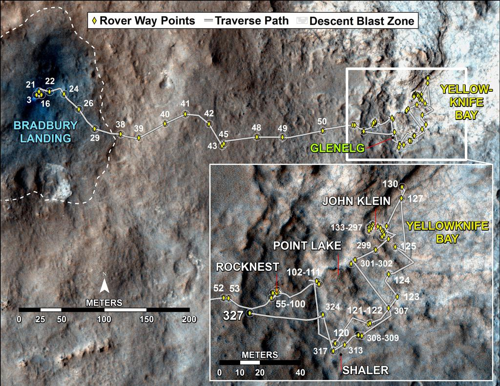 This map shows the route driven by NASA's Mars rover Curiosity through the 327 Martian day, or sol, of the rover's mission on Mars (July 8, 2013).