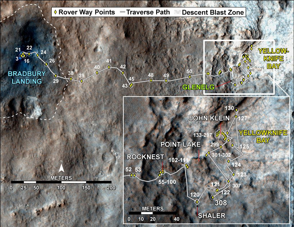 Curiosity's Traverse Map Through Sol 308