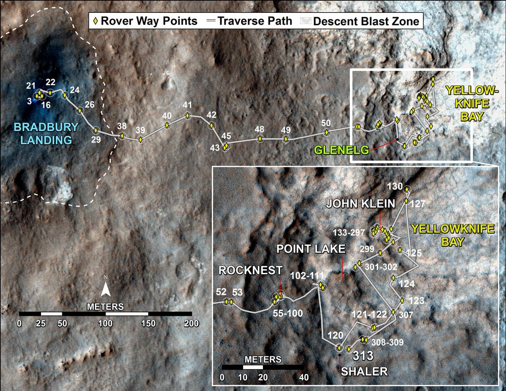 Curiosity's Traverse Map Through Sol 313