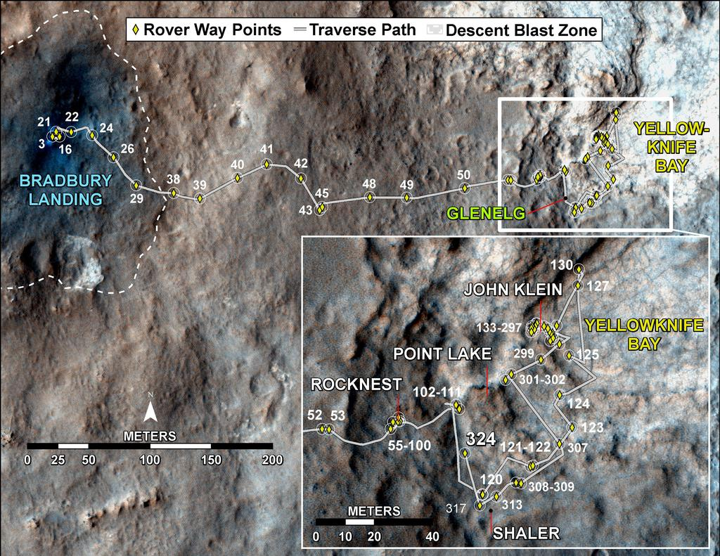 This map shows the route driven by NASA's Mars rover Curiosity through the 324 Martian day, or sol, of the rover's mission on Mars (July 4, 2013).