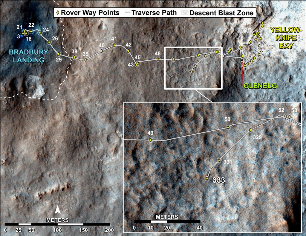 This map shows the route driven by NASA's Mars rover Curiosity through the 333 Martian day, or sol, of the rover's mission on Mars (July 14, 2013).