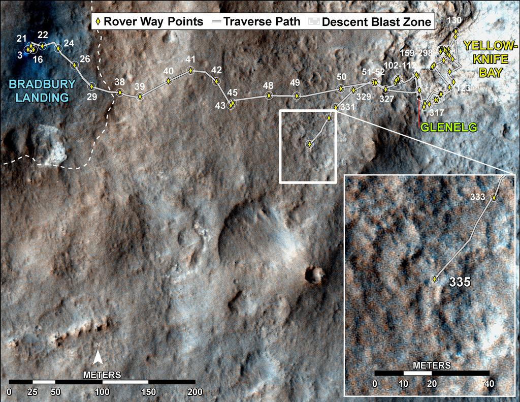 This map shows the route driven by NASA's Mars rover Curiosity through the 335 Martian day, or sol, of the rover's mission on Mars (July 16, 2013).