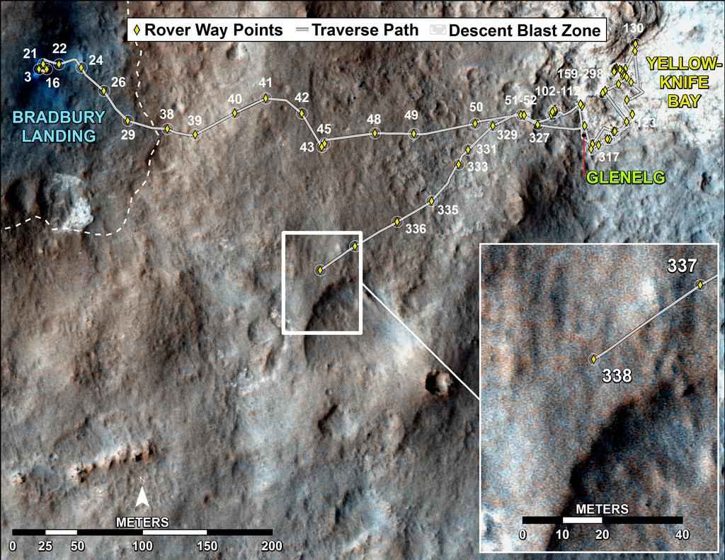 This map shows the route driven by NASA's Mars rover Curiosity through the 338 Martian day, or sol, of the rover's mission on Mars (July 19, 2013).