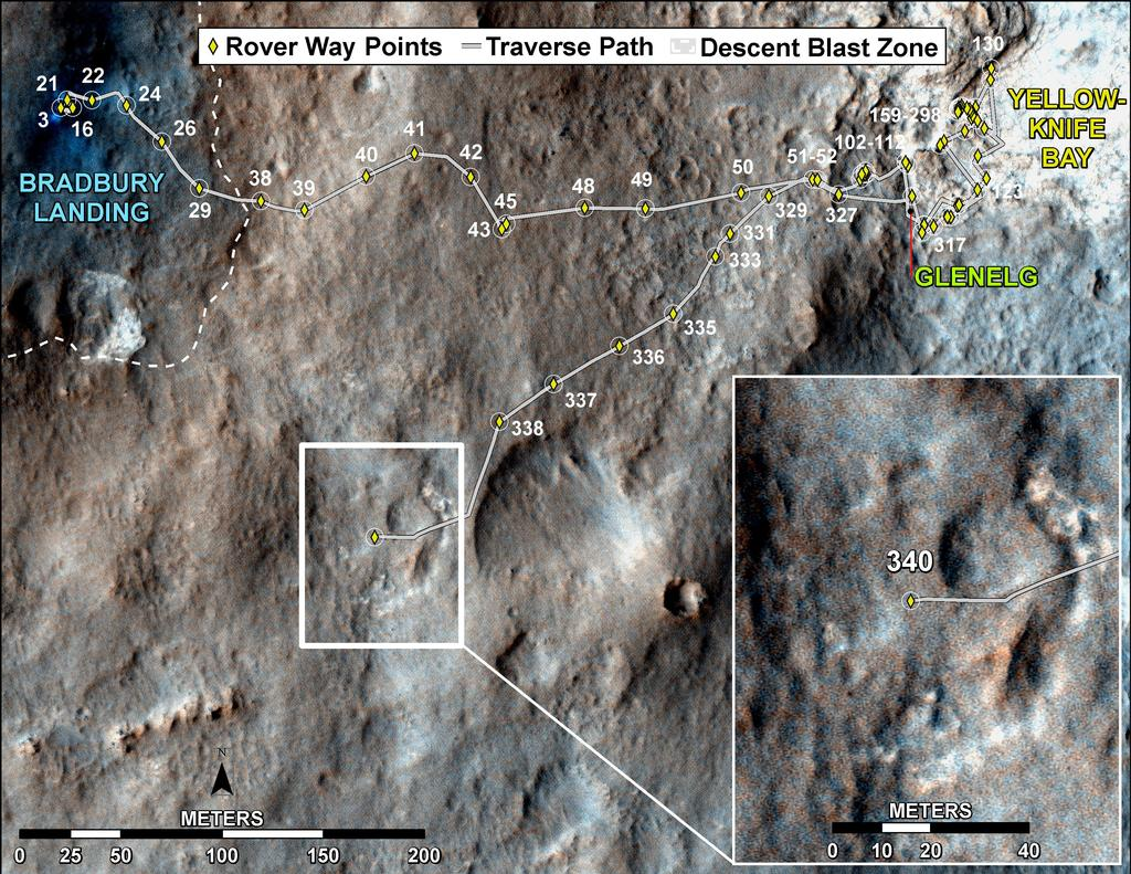This map shows the route driven by NASA's Mars rover Curiosity through the 340 Martian day, or sol, of the rover's mission on Mars (July 21, 2013).