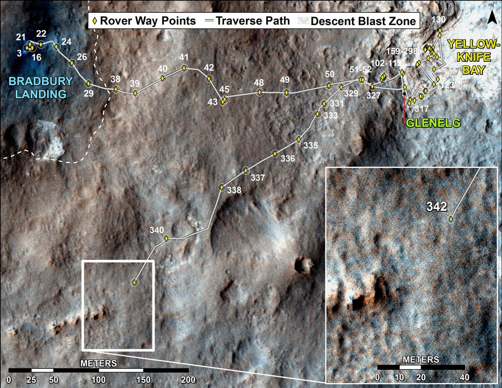 This map shows the route driven by NASA's Mars rover Curiosity through the 342 Martian day, or sol, of the rover's mission on Mars (July 23, 2013).