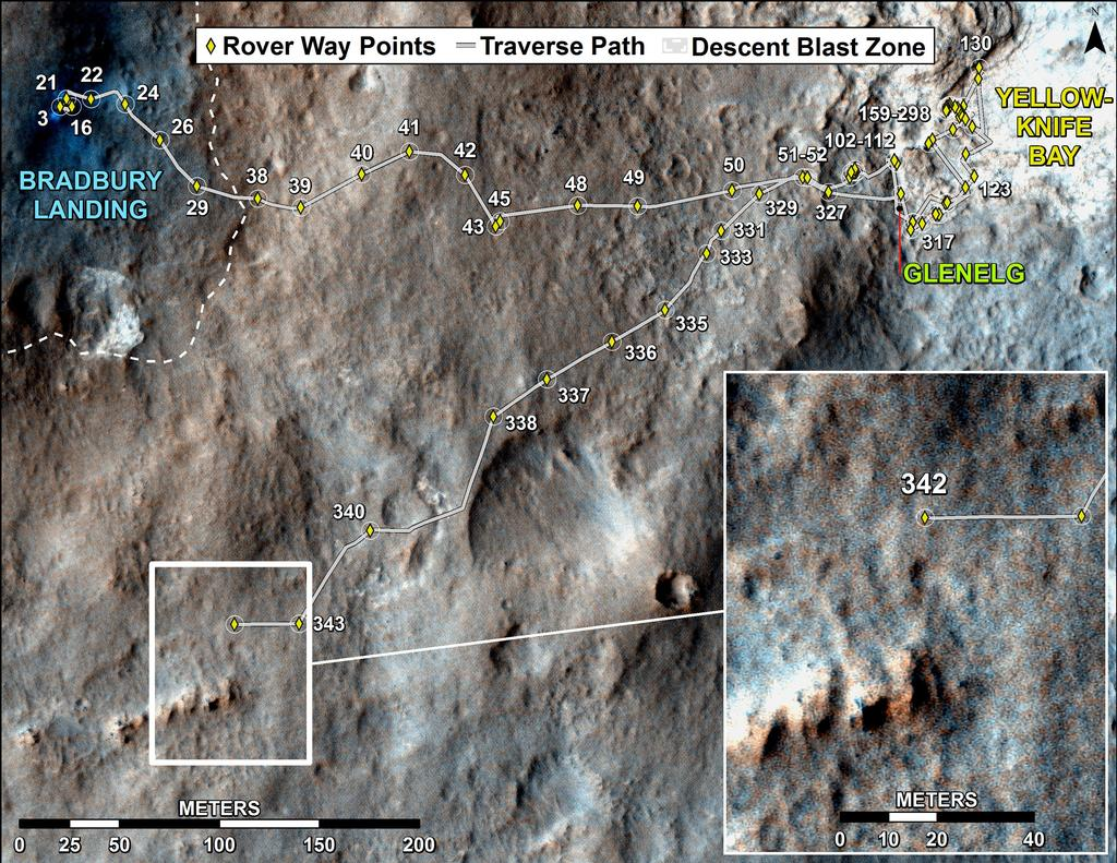 This map shows the route driven by NASA's Mars rover Curiosity through the 343 Martian day, or sol, of the rover's mission on Mars (July 24, 2013).