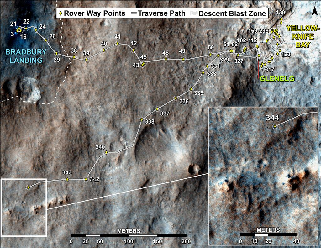 This map shows the route driven by NASA's Mars rover Curiosity through the 344 Martian day, or sol, of the rover's mission on Mars (July 24, 2013).