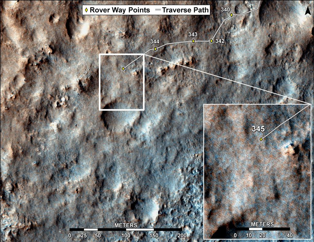 This map shows the route driven by NASA's Mars rover Curiosity through the 345 Martian day, or sol, of the rover's mission on Mars (July 26, 2013).
