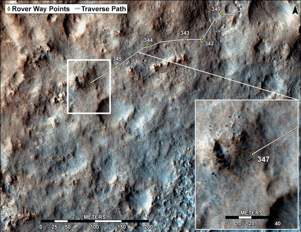 This map shows the route driven by NASA's Mars rover Curiosity through the 347 Martian day, or sol, of the rover's mission on Mars (July 28, 2013).